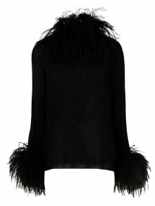 Saint Laurent trimmed collar and cuff blouse - Black