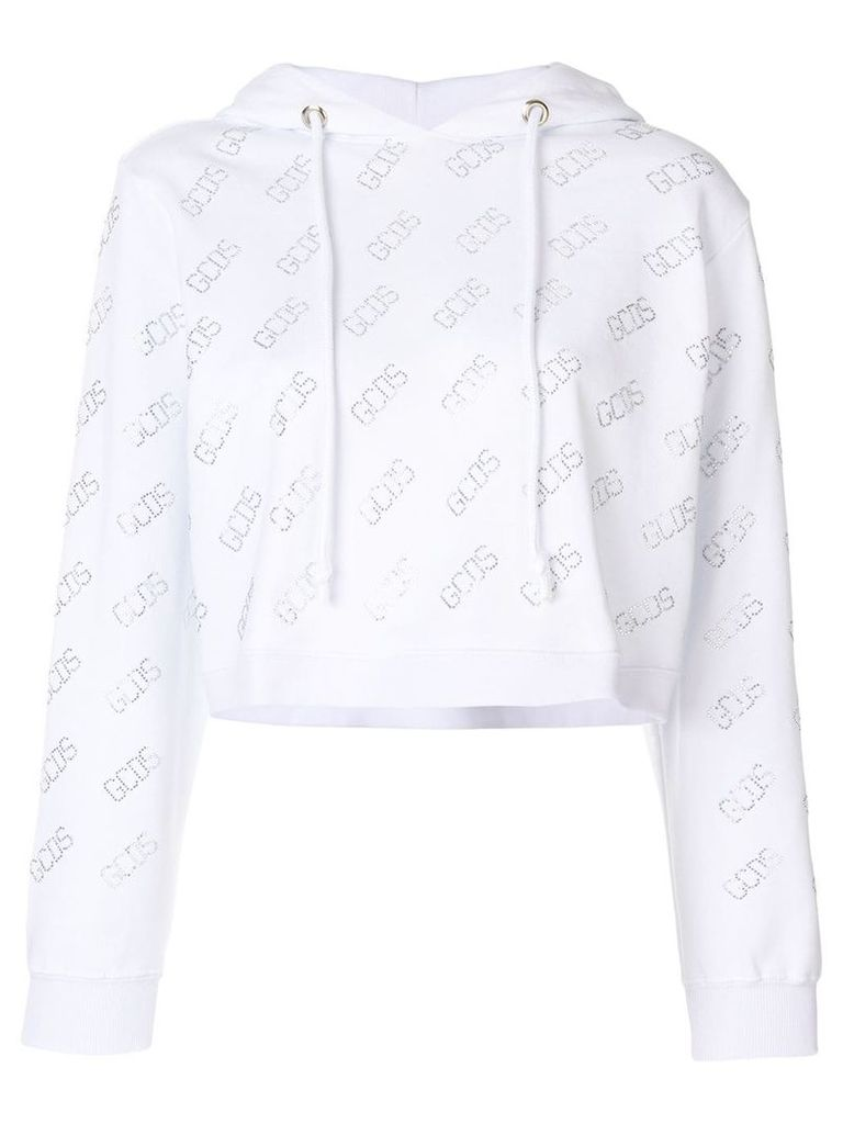 Gcds logo print cropped hoodie - White