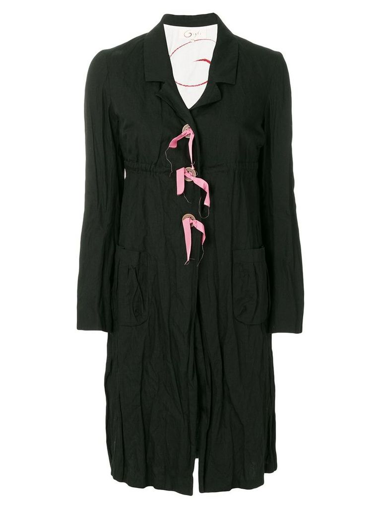 Romeo Gigli Pre-Owned creased midi coat - Black