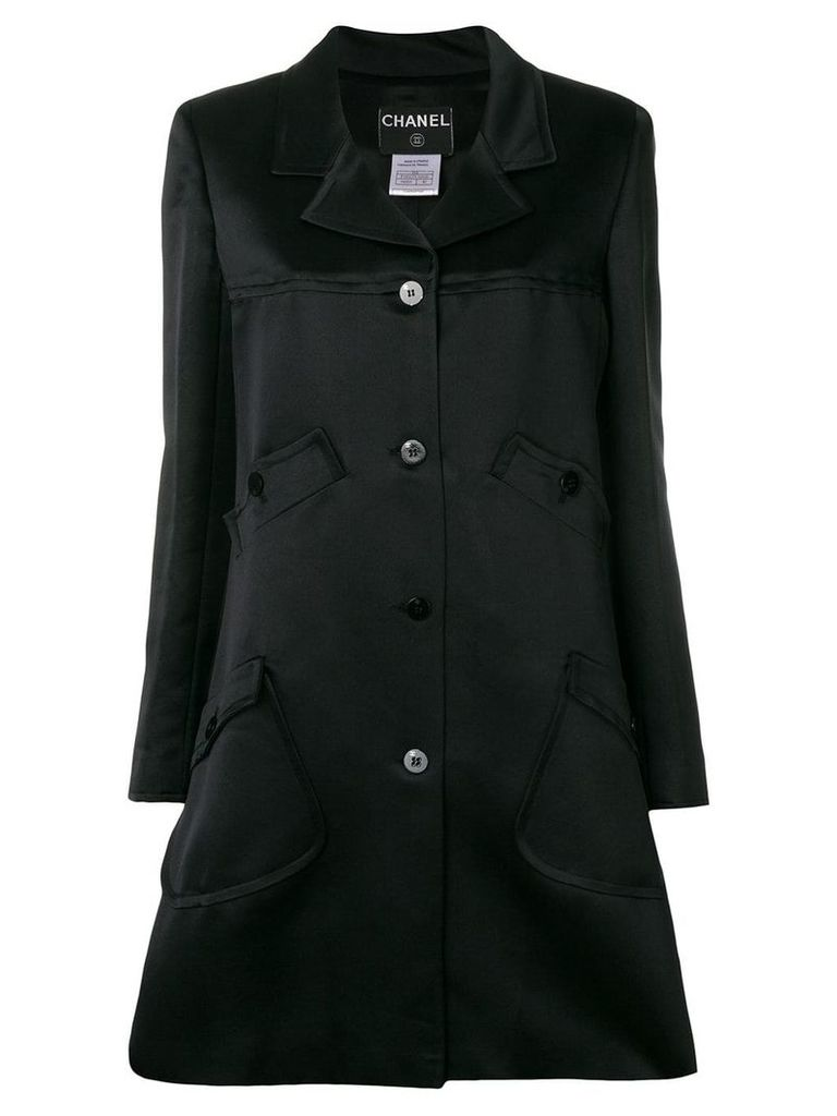 Chanel Vintage multiple pockets flared coat - Black