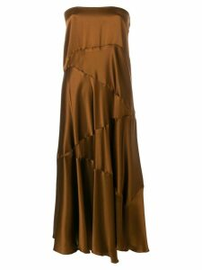 Romeo Gigli Pre-Owned strapless flared midi dress - Brown