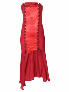 Romeo Gigli Pre-Owned strapless asymmetric dress - Red