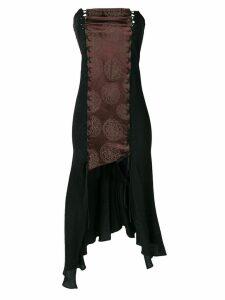 Romeo Gigli Pre-Owned strapless asymmetric dress - Black