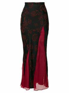 Romeo Gigli Pre-Owned sheer panels long skirt - Black