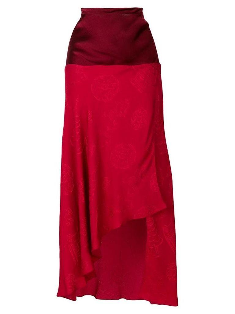 Romeo Gigli Vintage asymmetric midi skirt - Red