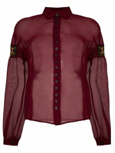 Romeo Gigli Pre-Owned embroidered patches sheer shirt