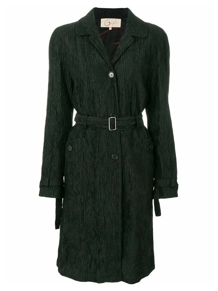 Romeo Gigli Vintage pleated belted coat - Black