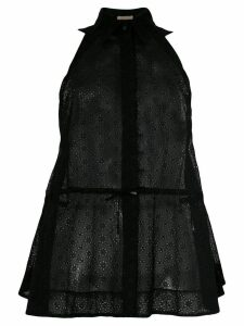 Alaïa Pre-Owned sheer drawstring sleeveless shirt - Black