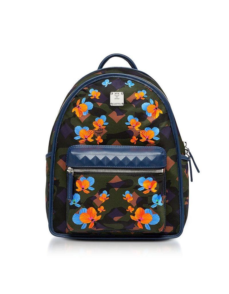 MCM Designer Handbags, Dieter Loden Green Floral Camo Print Nylon Small Backpack
