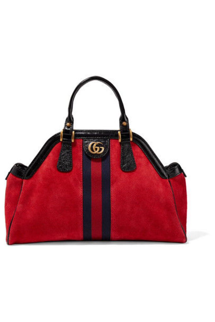Gucci - Re(belle) Small Patent Leather-trimmed Suede Tote - Red