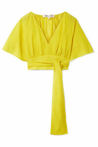 Diane von Furstenberg - Cropped Devoré-voile Wrap Blouse - Bright yellow