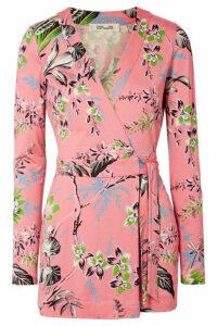 Diane von Furstenberg - Celeste Floral-print Silk-jersey Wrap Playsuit - Baby pink