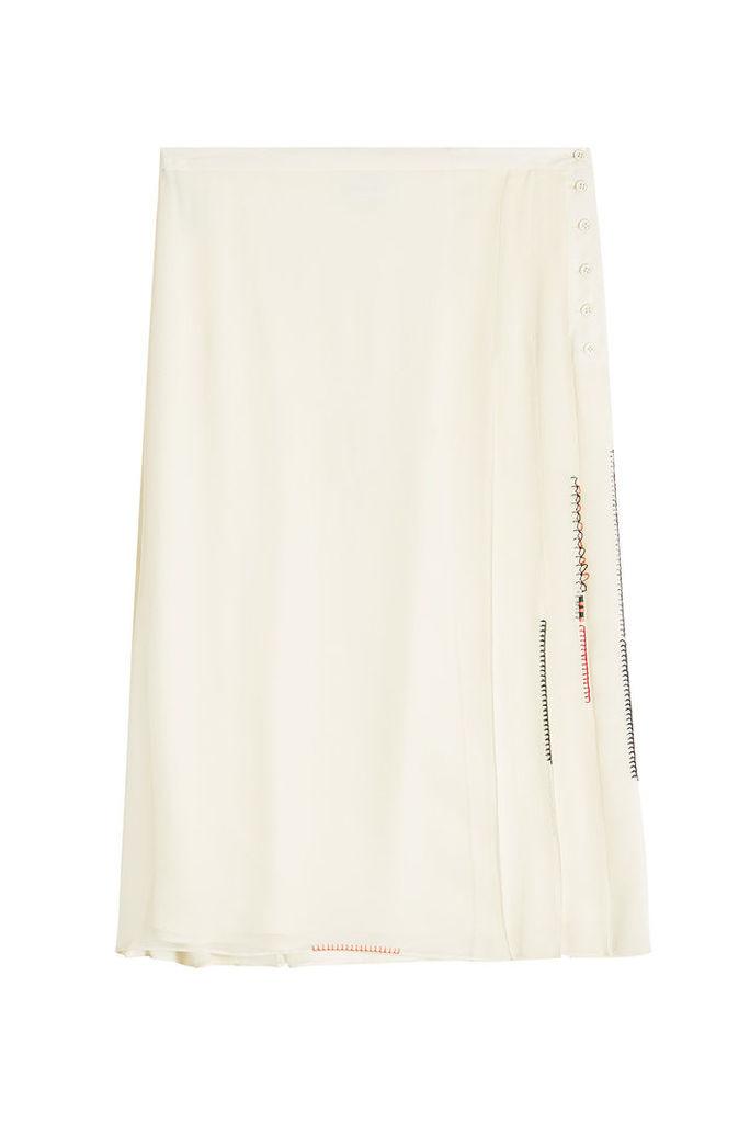 Carven Pleated Silk Georgette Skirt
