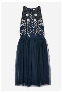 Womens **Nasa Skater Dress By Lace & Beads - Navy Blue, Navy Blue