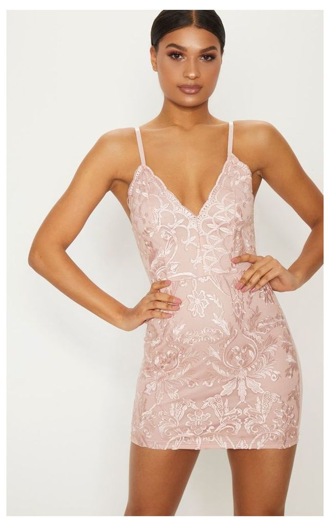 Dusty Pink Embroidered Lace Detail Plunge Bodycon Dress, Dusty Pink