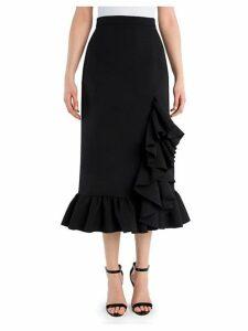 Tonal Stitched Straight Midi Skirt