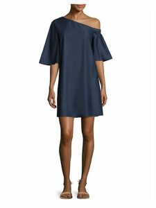 Cotton Dark Denim One-Shoulder Dress