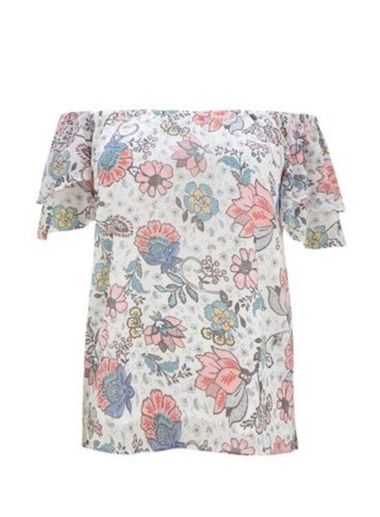 Ivory Floral Print Bardot Top, Ivory