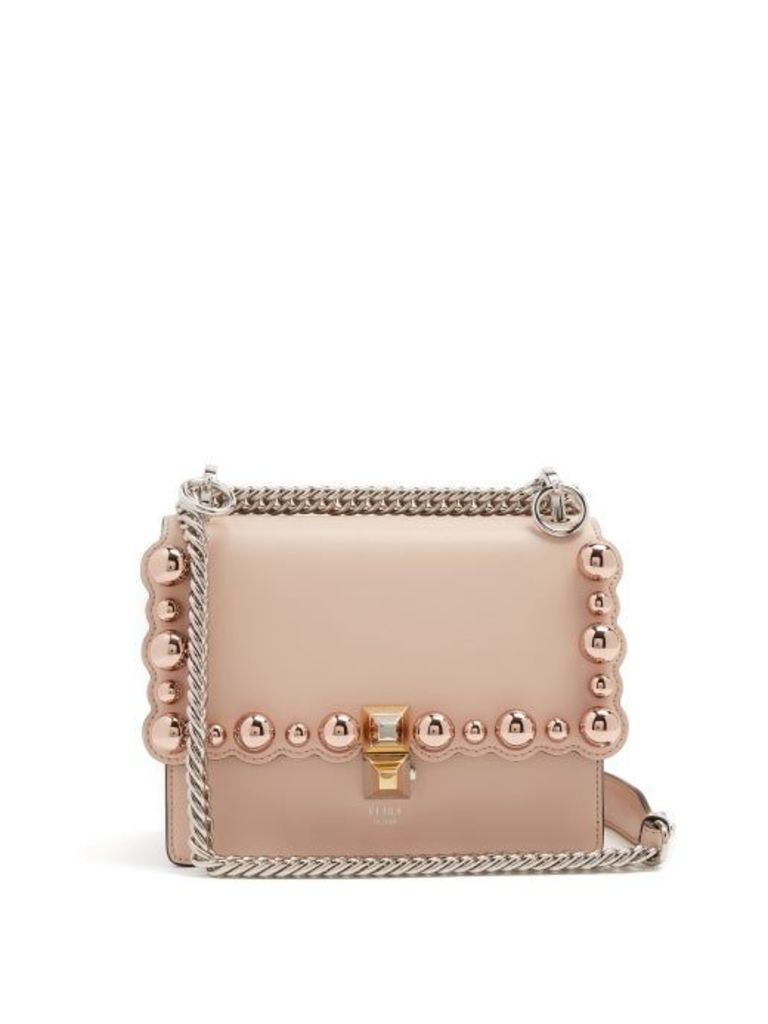 Fendi - Kan I Small Embellished Leather Cross Body Bag - Womens - Light Pink