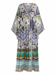 Camilla - Long Sleeve Kimono Maxi Dress - Womens - Green Multi