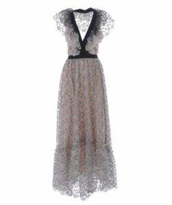 Contrast Trim Plunge Lace Dress