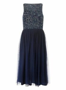 Womens **Showcase Cordelia Navy Sequin Bodice Midi Prom Dress- Blue, Blue
