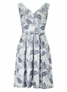 Womens **Luxe Blue Jacquard Prom Dress, Blue
