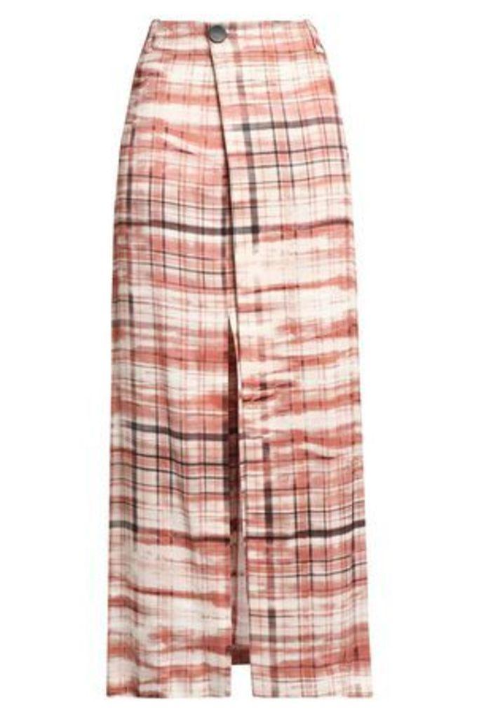 Joseph Woman Checked Satin-crepe Wrap Skirt Brick Size 38