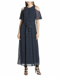Polka-Dot Ruffled Cold-Shoulder Maxi Dress