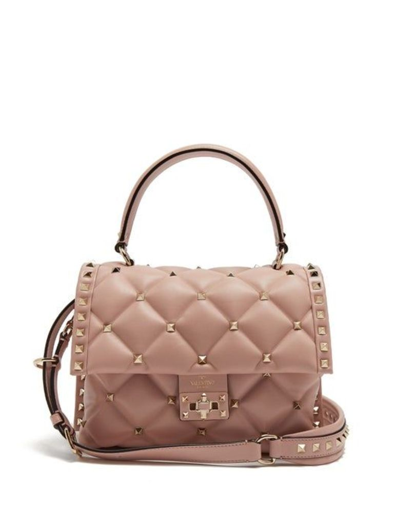Valentino - Candystud Quilted Leather Shoulder Bag - Womens - Light Pink