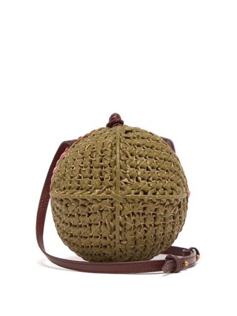 Sophie Anderson - Ceina Woven Leather Cross Body Bag - Womens - Khaki Multi