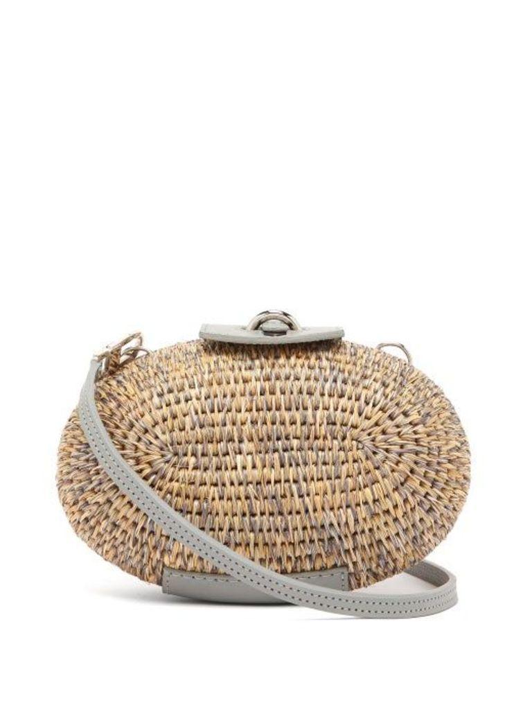 Khokho - Lindi Minaudière Leather Trimmed Basket Bag - Womens - Light Grey