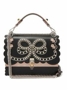 Fendi - Kan I Bow Embroidery Leather Shoulder Bag - Womens - Black Multi