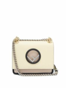 Fendi - Kan I Mini Leather Cross Body Bag - Womens - Light Yellow
