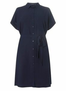 Womens **Dp Curve Navy Shirt Dress- Blue, Blue
