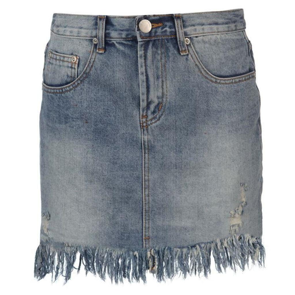Glamorous Fray Denim Skirt