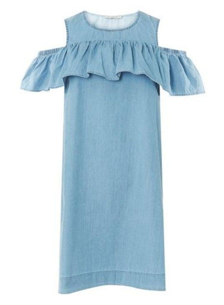 Womens **Vero Moda Blue Cold Shoulder Shift Dress- Blue, Blue
