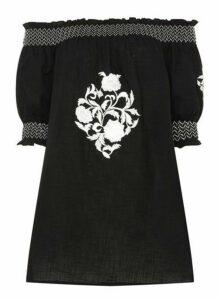 Womens Black Embroidered Bardot Tunic- Black, Black