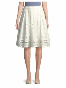 Eyelet Cotton Knee-Length Skirt