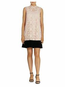 Lace And Velvet Drop-Waist Dress