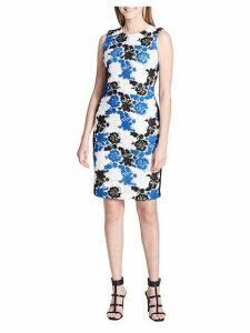 Sleeveless Floral Crochet Sheath Dress
