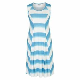 Chesca Ombre Stripe Chevron Jersey Dress, Ivory/Turquoise