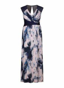 **Little Mistress Blue Print Maxi Dress, Mid Blue