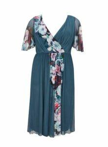 **Scarlett & Jo Grey Floral Print Skater Dress, Light Grey