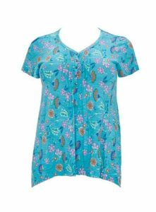 Blue Floral Print Top, Turquoise