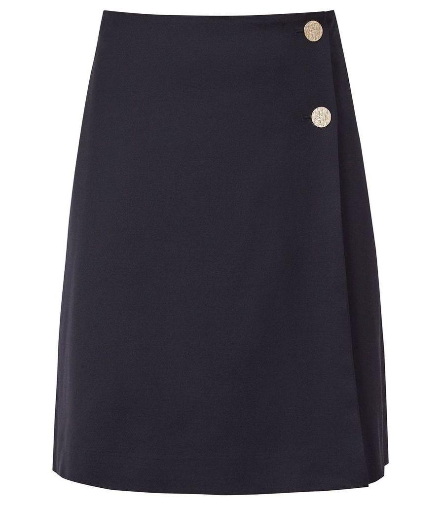 Reiss Tally Skirt - Tailored Wrap Skirt in Navy, Womens, Size 14