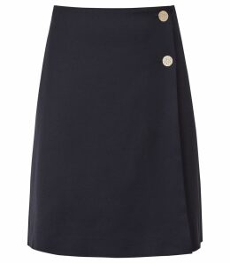 Reiss Tally Skirt - Tailored Wrap Skirt in Navy, Womens, Size 14