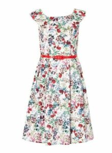 Womens *Izabel London White Rose Print Prom Dress- Multi Colour, Multi Colour