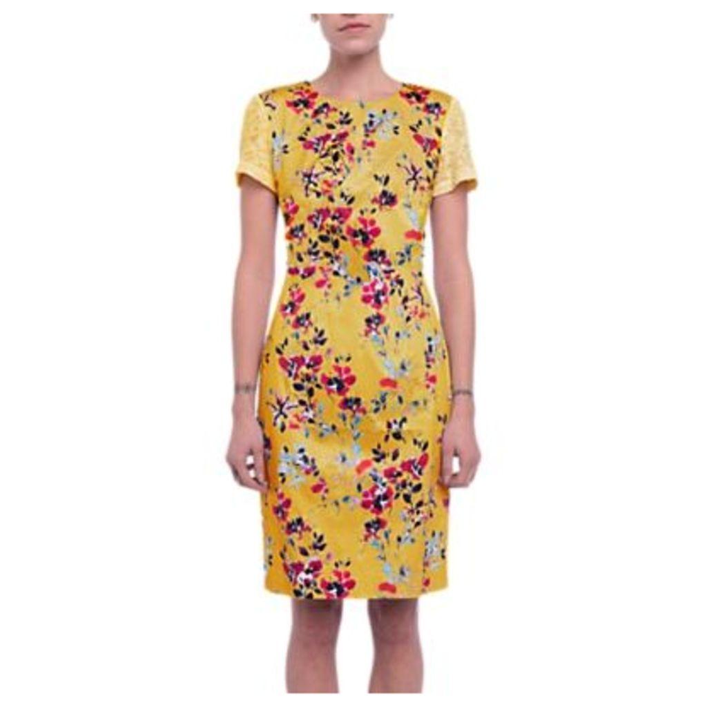 French Connection Linosa Cotton Blend Dress, Citrus/Multi