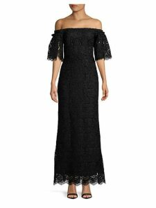 Off-the-Shoulder Lace Ruffle Gown